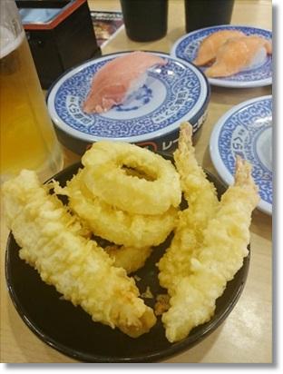天ぷら盛り合わせと限定寿司と、もちろんビール(^^;v