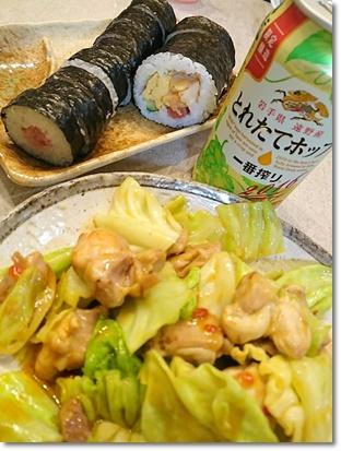 恵方巻とネギトロ巻きと鶏キャベツ♪...そして、もちろんビール(^^)