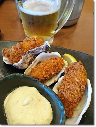 牡蠣フライと生ビール(^^;v